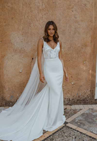 Sleeveless V-neck Sheath Crepe Wedding Dress With Floral Lace Bodice by Anna Campbell