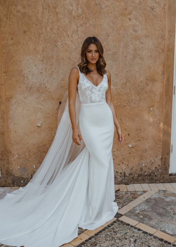 Sleeveless V-neck Sheath Crepe Wedding Dress With Floral Lace Bodice by Anna Campbell - Image 1