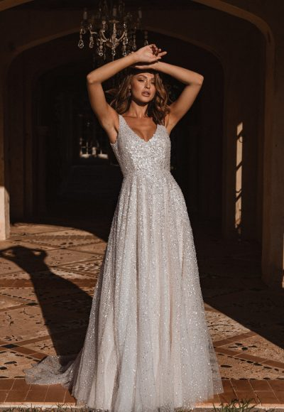 Sleeveless V-neckline Hand Beaded Sequin Ball Gown Wedding Dress by Anna Campbell