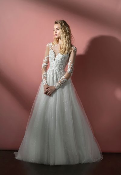 Long Sleeve Illusion A-line Wedding Dress With Embroidered Bodice And Sparkle Tulle Layered Skirt by BLUSH by Hayley Paige