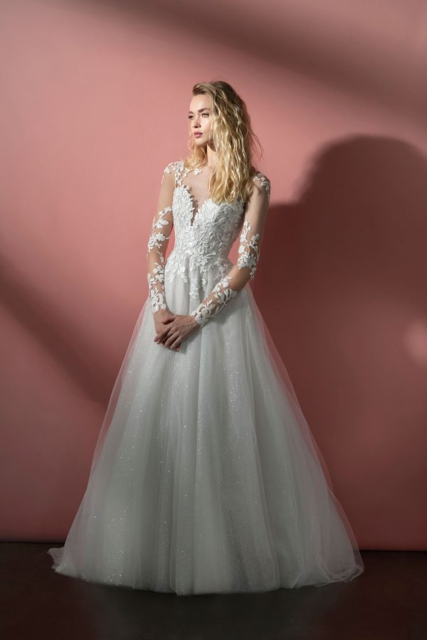 Long Sleeve Illusion A-line Wedding Dress With Embroidered Bodice And Sparkle Tulle Layered Skirt by BLUSH by Hayley Paige - Image 1