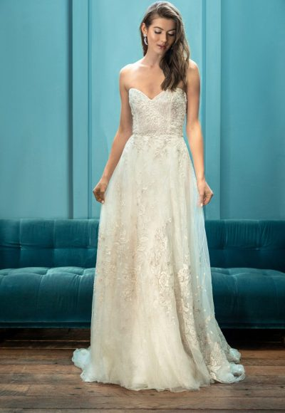 STRAPLESS SWEETHEART NECKLINE EMBROIDERED A-LINE BALL GOWN WEDDING DRESS by Enaura Bridal