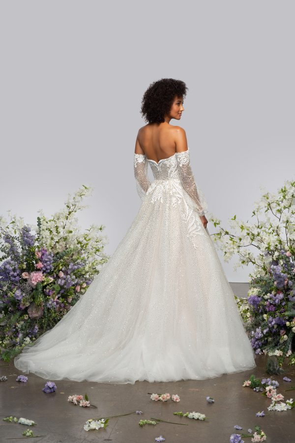 Long Sleeve Sweetheart Off The Shoulder Ball Gown Wedding Dress With Sparkle Embroideries by Hayley Paige - Image 2