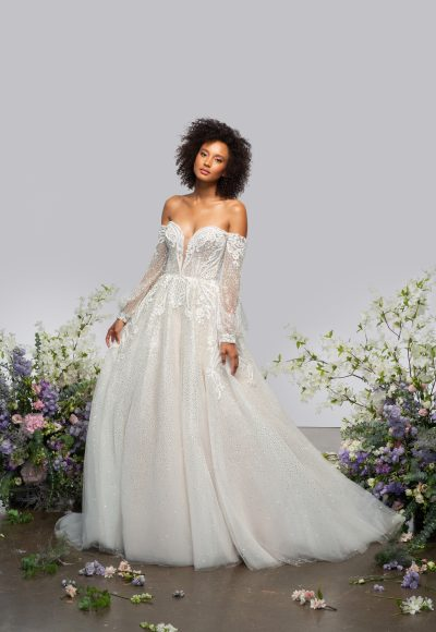 Long Sleeve Sweetheart Off The Shoulder Ball Gown Wedding Dress With Sparkle Embroideries by Hayley Paige