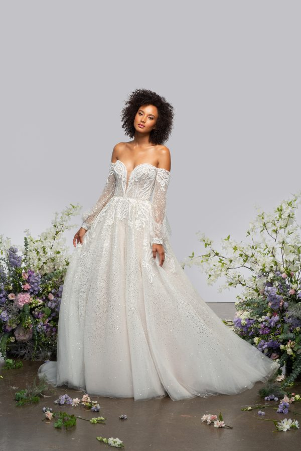 Long Sleeve Sweetheart Off The Shoulder Ball Gown Wedding Dress With Sparkle Embroideries by Hayley Paige - Image 1