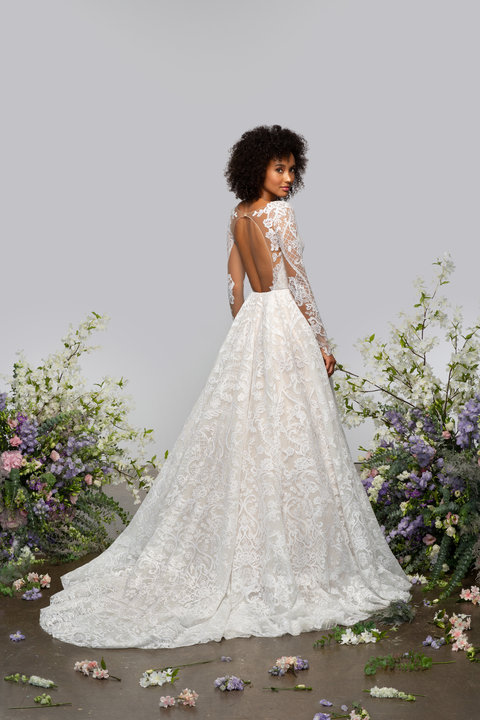 Long Sleeve V-neckline A-line Lace Wedding Dress With Sparkle Embroidery by Hayley Paige - Image 2