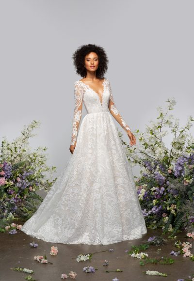 Long Sleeve V-neckline A-line Lace Wedding Dress With Sparkle Embroidery by Hayley Paige