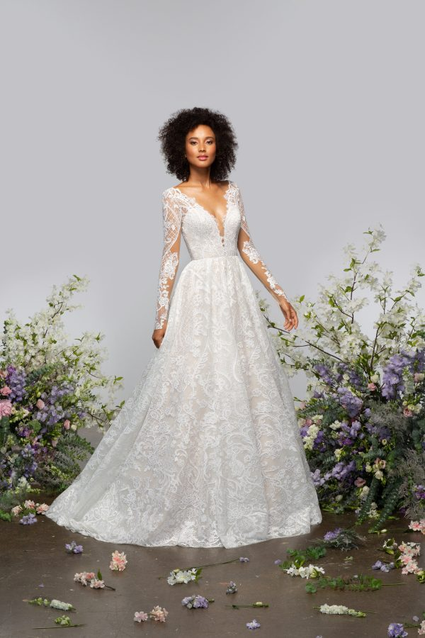 Long Sleeve V-neckline A-line Lace Wedding Dress With Sparkle Embroidery by Hayley Paige - Image 1