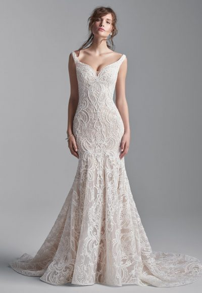 SLEEVELESS BEADED LACE MERMAID WEDDING DRESS by Maggie Sottero