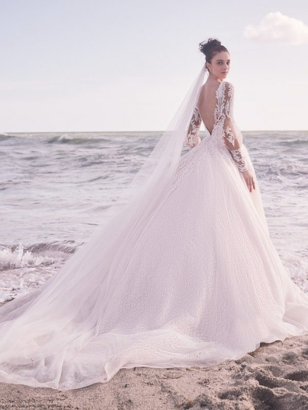 Sleeveless Bridal Gown With Detachable Lace Overskirt by Maggie Sottero - Image 2