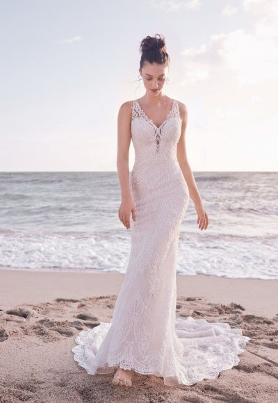 Sleeveless Bridal Gown With Detachable Lace Overskirt by Maggie Sottero