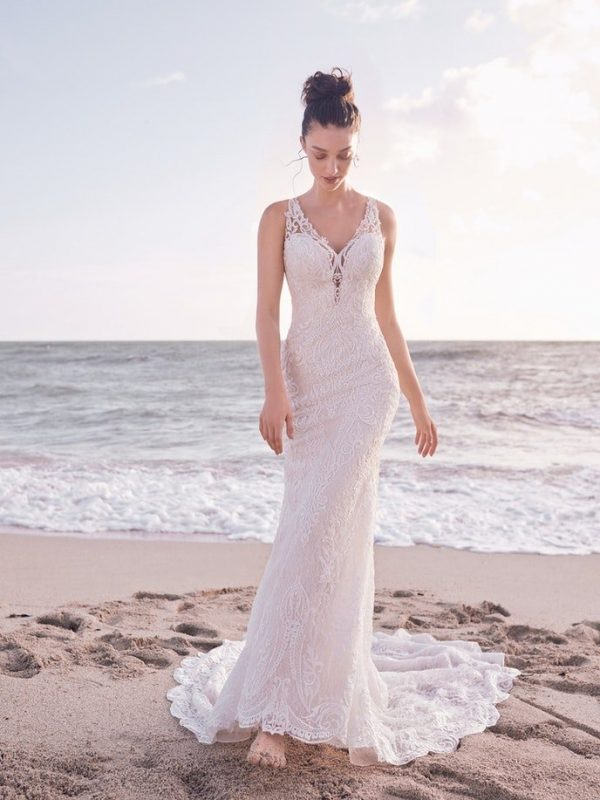 Sleeveless Bridal Gown With Detachable Lace Overskirt by Maggie Sottero - Image 1