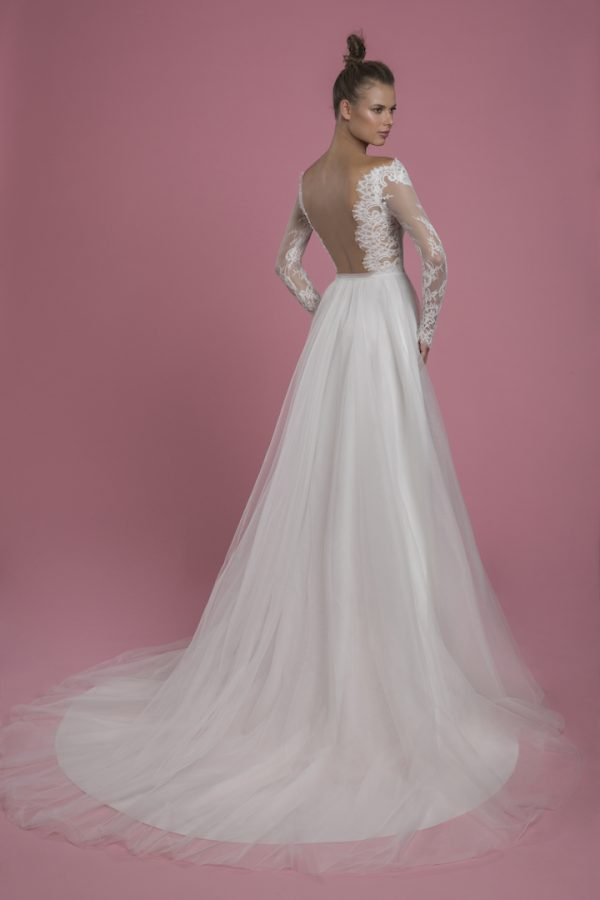 Long Sleeve A-line Lace Wedding Dress With Tulle Skirt by P by Pnina Tornai - Image 2