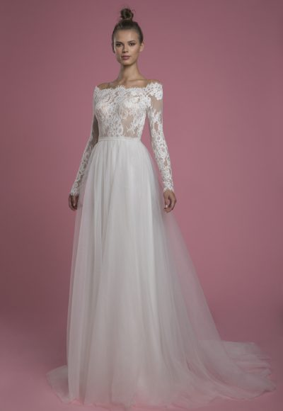 Long Sleeve A-line Lace Wedding Dress With Tulle Skirt by P by Pnina Tornai