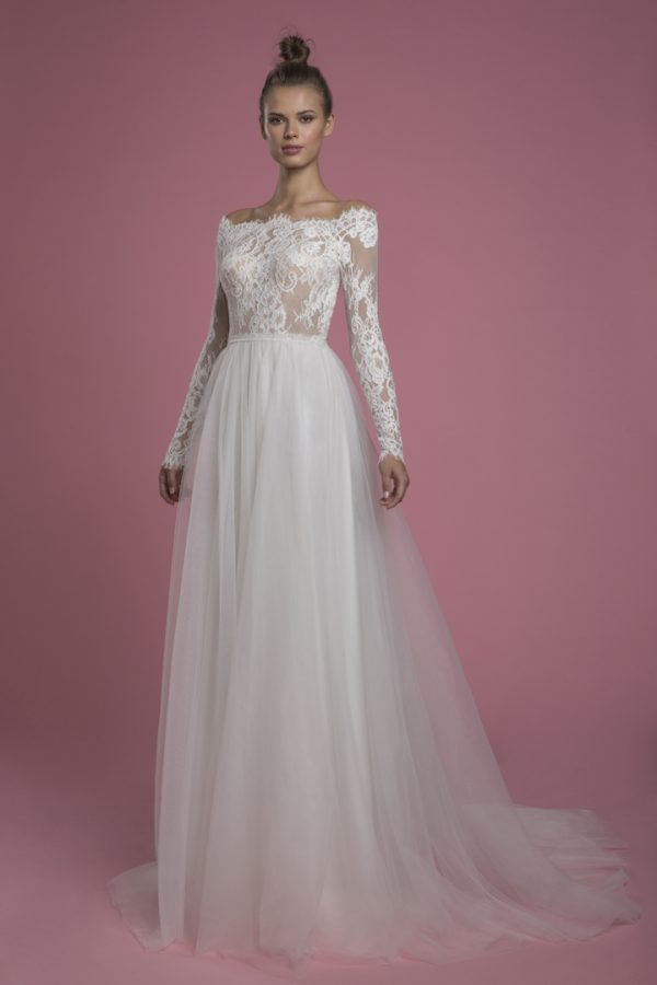 Long Sleeve A-line Lace Wedding Dress With Tulle Skirt by P by Pnina Tornai - Image 1