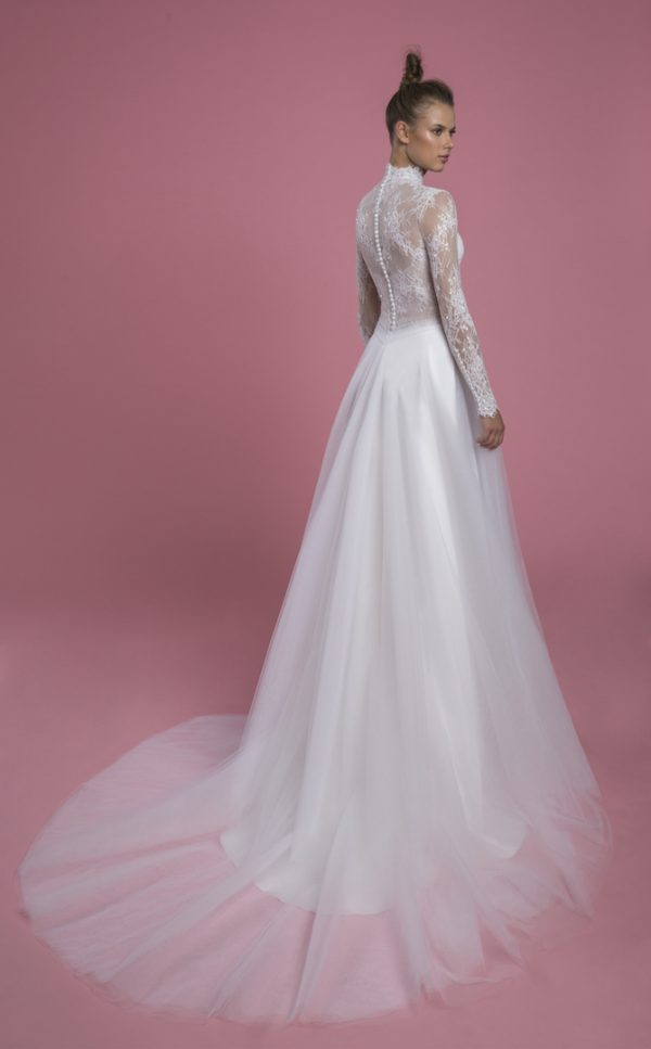 Long Sleeve Mock Neck Lace A-line Wedding Dress With Tulle Skirt by P by Pnina Tornai - Image 2