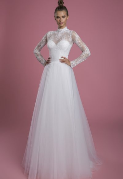 Long Sleeve Mock Neck Lace A-line Wedding Dress With Tulle Skirt by P by Pnina Tornai