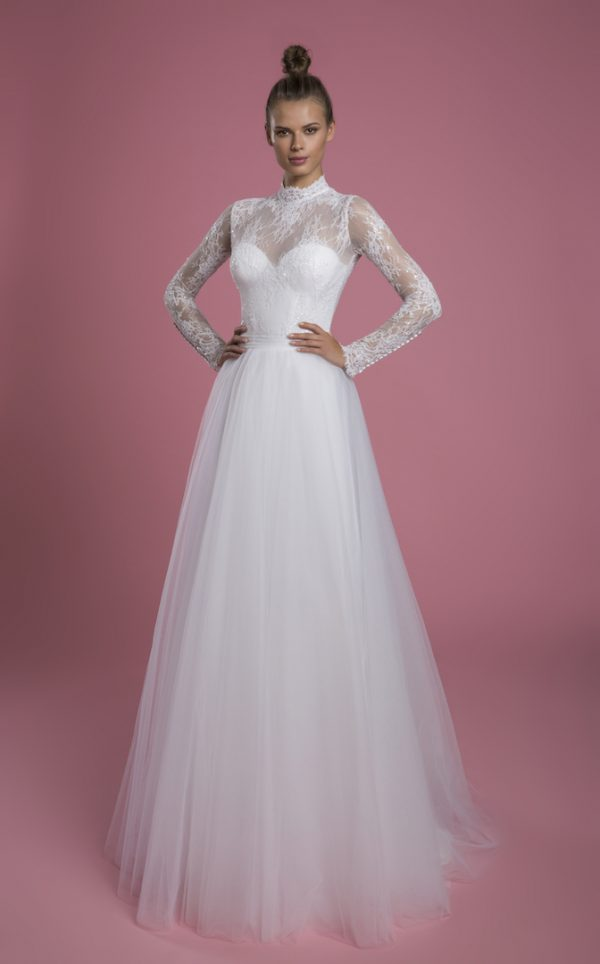 Long Sleeve Mock Neck Lace A-line Wedding Dress With Tulle Skirt by P by Pnina Tornai - Image 1