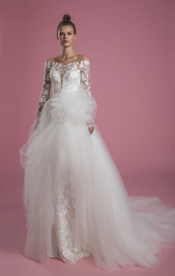 Long Sleeve Off The Shoulder Lace Underlay Sheath Wedding Dress With Overskirt by P by Pnina Tornai - Image 2