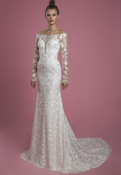 Long Sleeve Off The Shoulder Lace Underlay Sheath Wedding Dress With Overskirt by P by Pnina Tornai