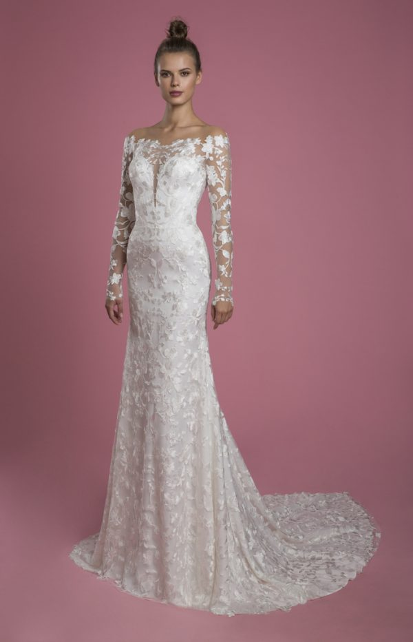 Long Sleeve Off The Shoulder Lace Underlay Sheath Wedding Dress With Overskirt by P by Pnina Tornai - Image 1