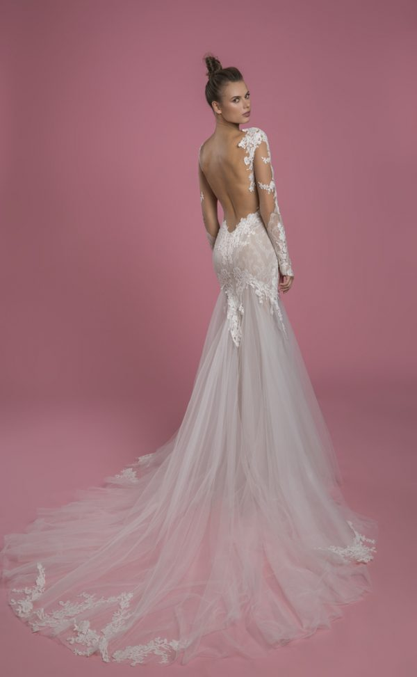 Long Sleeve Sweetheart Neckline Fit And Flare Lace Wedding Dress With Tulle Skirt by P by Pnina Tornai - Image 2