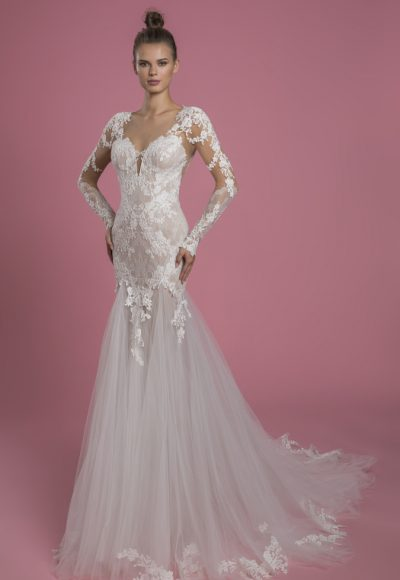 Long Sleeve Sweetheart Neckline Fit And Flare Lace Wedding Dress With Tulle Skirt by P by Pnina Tornai