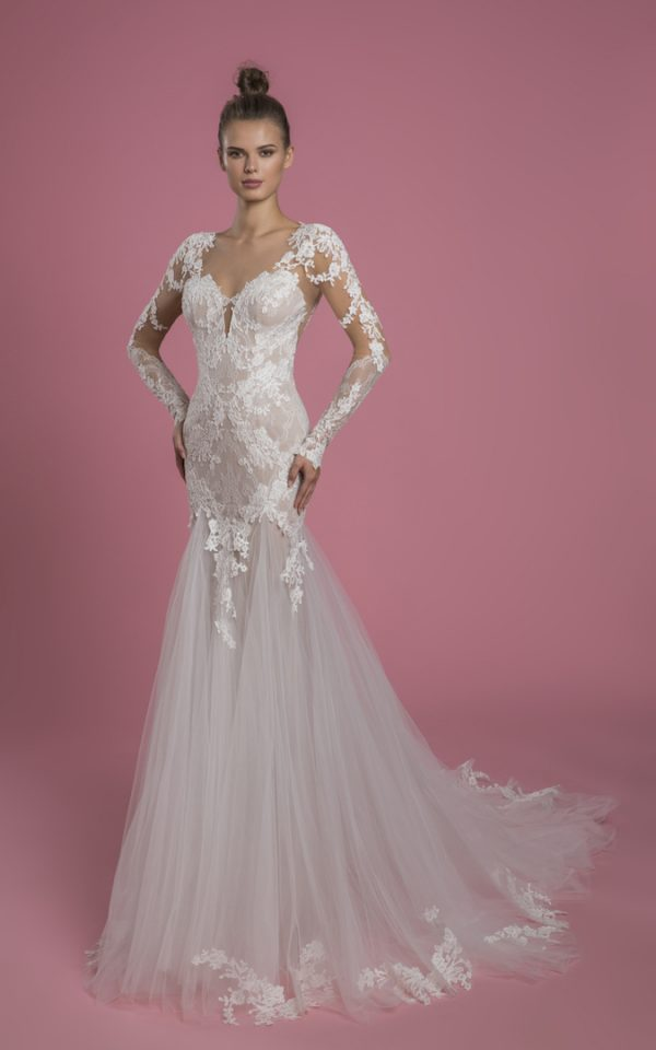 Long Sleeve Sweetheart Neckline Fit And Flare Lace Wedding Dress With Tulle Skirt by P by Pnina Tornai - Image 1