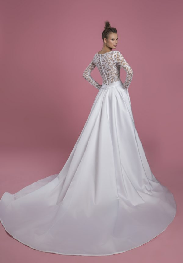 Long Sleeve V-neck A-line Wedding Dress With Lace Bodice And Satin Skirt by P by Pnina Tornai - Image 2