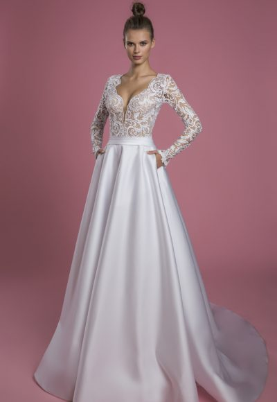 Long Sleeve V-neck A-line Wedding Dress With Lace Bodice And Satin Skirt by P by Pnina Tornai