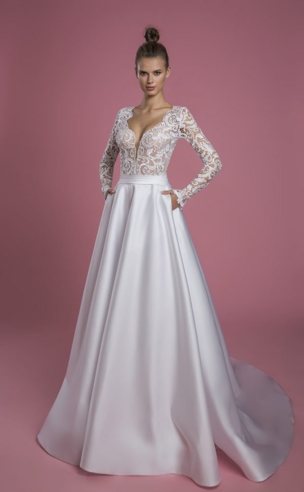 Long Sleeve V-neck A-line Wedding Dress With Lace Bodice And Satin Skirt by P by Pnina Tornai - Image 1