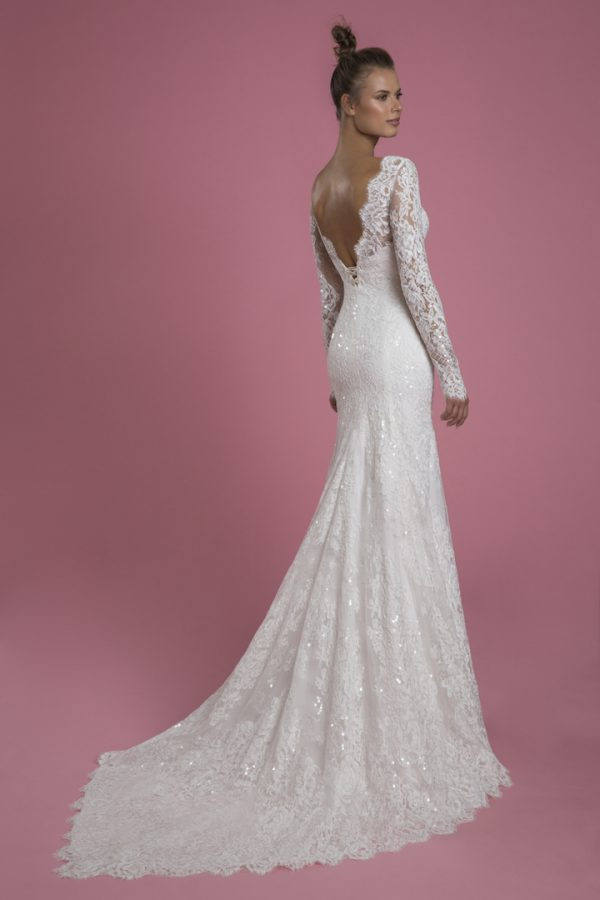Long Sleeve V-neck Lace Fit And Flare Sequin Embroidered Wedding Dress With Bow by P by Pnina Tornai - Image 2