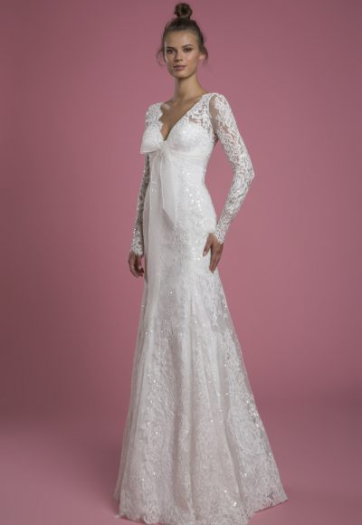 Long Sleeve V-neck Lace Fit And Flare Sequin Embroidered Wedding Dress With Bow by P by Pnina Tornai