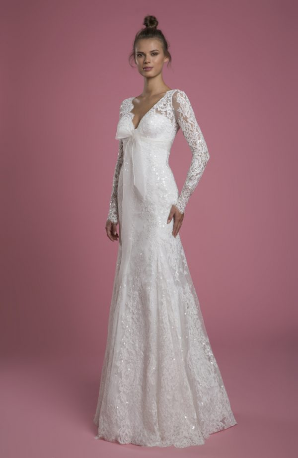 Long Sleeve V-neck Lace Fit And Flare Sequin Embroidered Wedding Dress With Bow by P by Pnina Tornai - Image 1