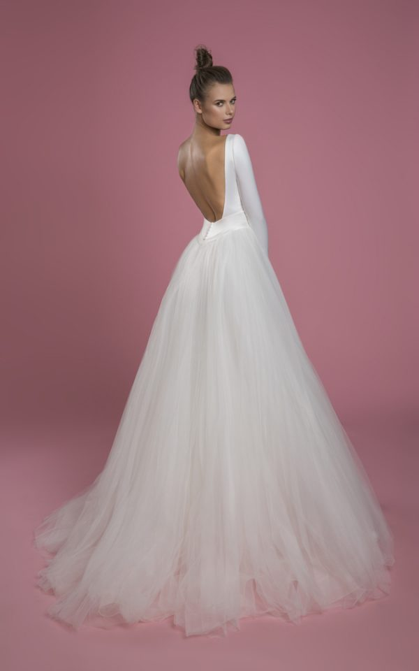 Long Sleeve V-neckline Ball Gown Wedding Dress With Satin Bodice And Tulle Skirt by P by Pnina Tornai - Image 2