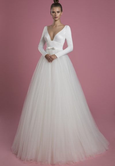 Long Sleeve V-neckline Ball Gown Wedding Dress With Satin Bodice And Tulle Skirt by P by Pnina Tornai
