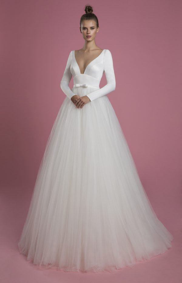 Long Sleeve V-neckline Ball Gown Wedding Dress With Satin Bodice And Tulle Skirt by P by Pnina Tornai - Image 1