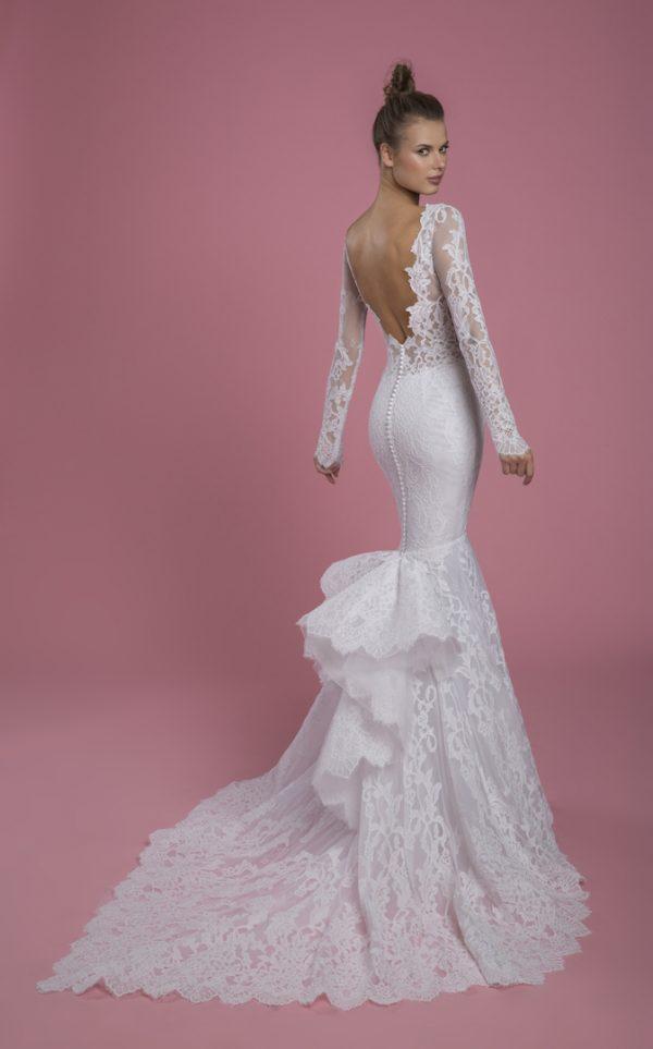 Long Sleeve V-neckline Lace Mermaid Wedding Dress by P by Pnina Tornai - Image 2