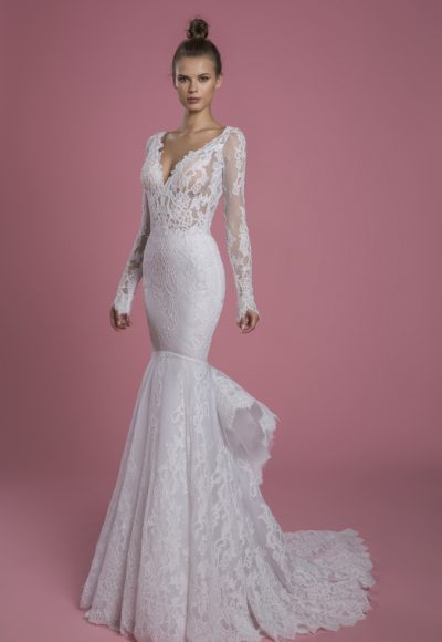 Long Sleeve V-neckline Lace Mermaid Wedding Dress by P by Pnina Tornai