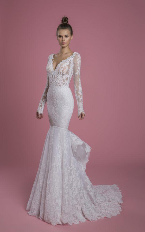 Long Sleeve V-neckline Lace Mermaid Wedding Dress by P by Pnina Tornai - Image 1