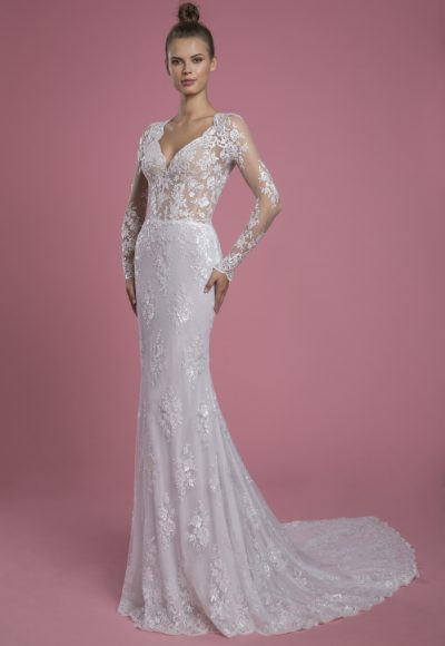 Long Sleeve V-neckline Lace Sheath Wedding Dress by P by Pnina Tornai