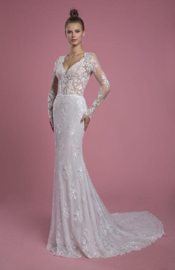 Long Sleeve V-neckline Lace Sheath Wedding Dress by P by Pnina Tornai - Image 1