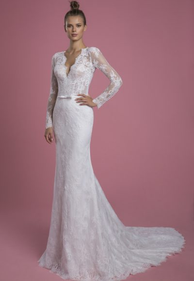 Long Sleeve V-neckline Lace Sheath Wedding Dress With Matching Overskirt by P by Pnina Tornai