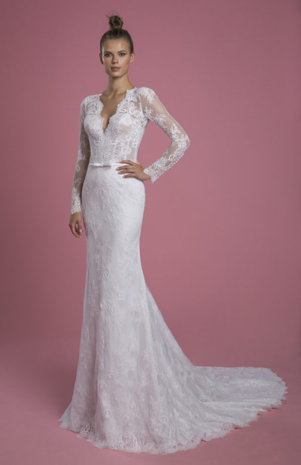Long Sleeve V-neckline Lace Sheath Wedding Dress With Matching Overskirt by P by Pnina Tornai - Image 1