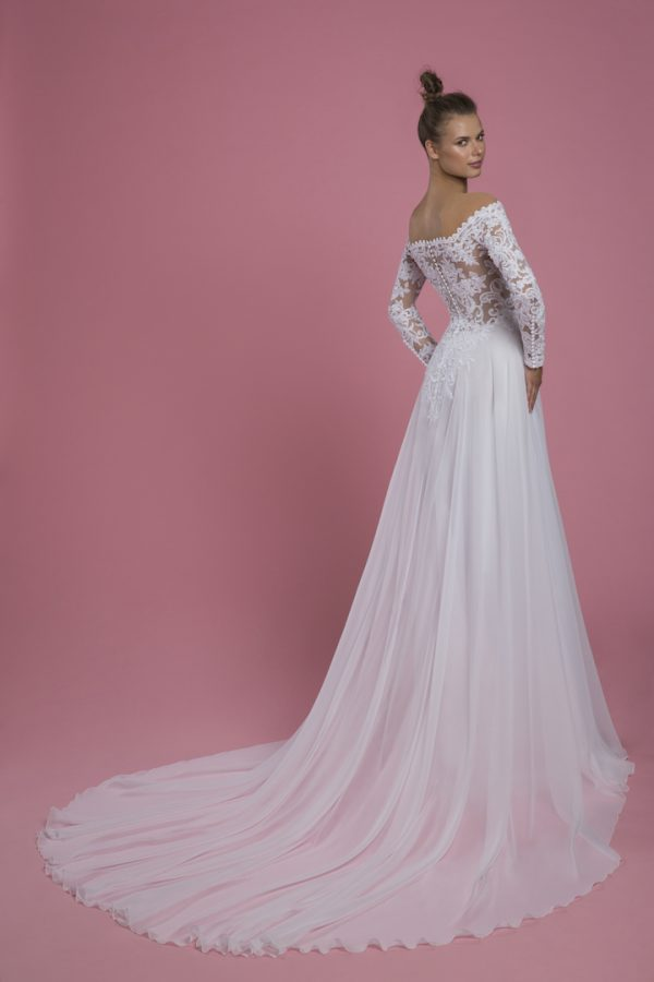 Off The Shoulder Long Sleeve Lace A-line Wedding Dress by P by Pnina Tornai - Image 2