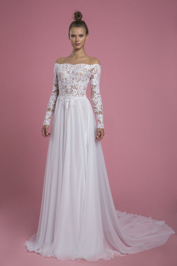 Off The Shoulder Long Sleeve Lace A-line Wedding Dress by P by Pnina Tornai - Image 1