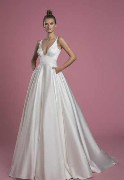 Sleeveless V-neck A-line Satin Wedding Dress by P by Pnina Tornai