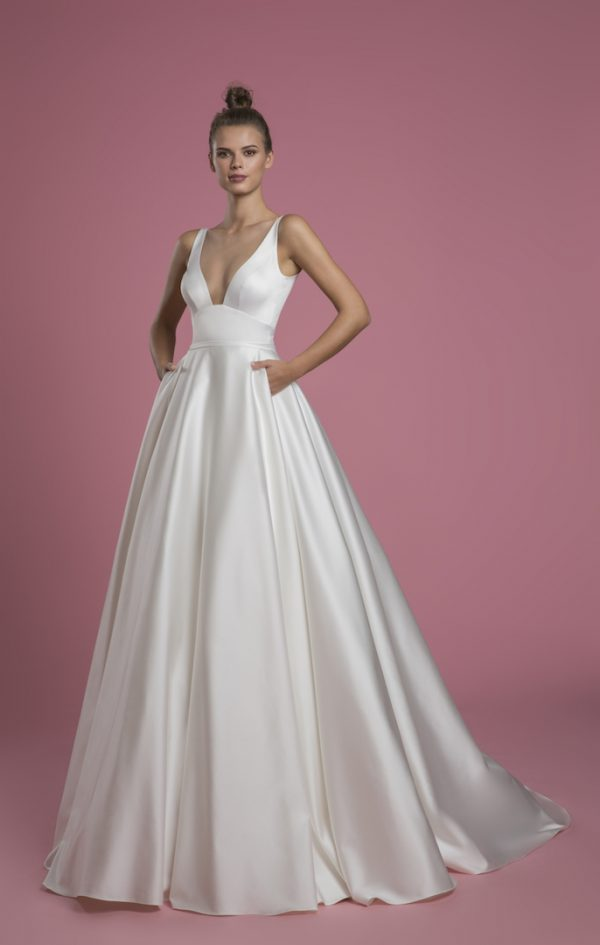 Sleeveless V-neck A-line Satin Wedding Dress by P by Pnina Tornai - Image 1