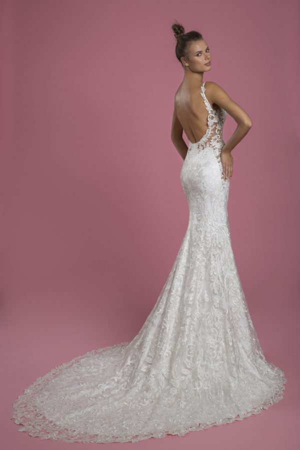 Sleeveless V-neck Lace Sheath Wedding Dress by P by Pnina Tornai - Image 2