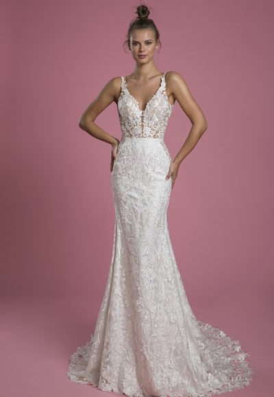 Sleeveless V-neck Lace Sheath Wedding Dress by P by Pnina Tornai